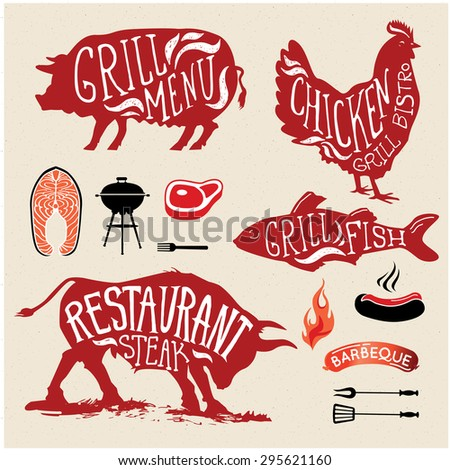 Illustration Grill Menu Labels Set of in Flat Design Style. - stock vector