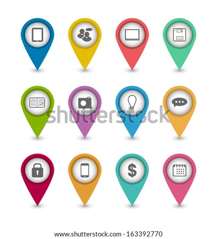 Illustration group business pictogram icons for design your website - vector - stock vector