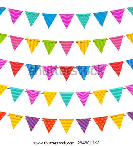 Illustration Group Hanging Bunting Party Flags, for Your Designs (Birthday Party, Wedding Celebration) - Vector - Vector