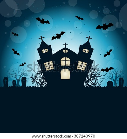 Illustration Halloween Abstract Background with Castle, Bats, Cemetery. Copy Space for Your Text - Vector