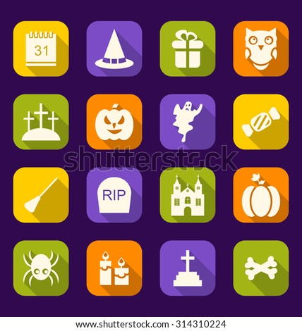Illustration Halloween Flat Icons with Long Shadows - Vector