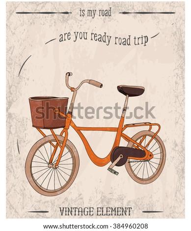 illustration handmade drawing bicycle - stock vector