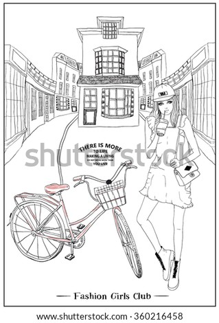 illustration handmade drawing vector girl and bicycle - stock vector