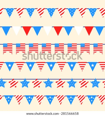 Illustration Hanging Bunting Pennants for American Holidays, National Symbolic Decoration. Vector - stock vector