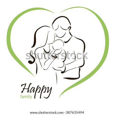 Illustration Happy family with baby - stock vector