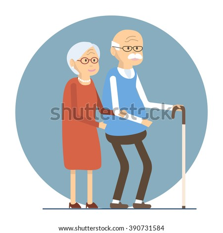 Illustration happy senior man woman family /Old people couple walking together /Flat characters happy retired elderly senior age couple /Social concept old people / Vector illustration old love couple - stock vector