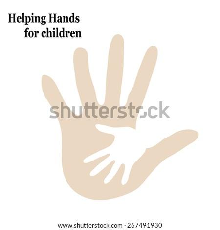 Illustration help children embrace two hands - stock vector