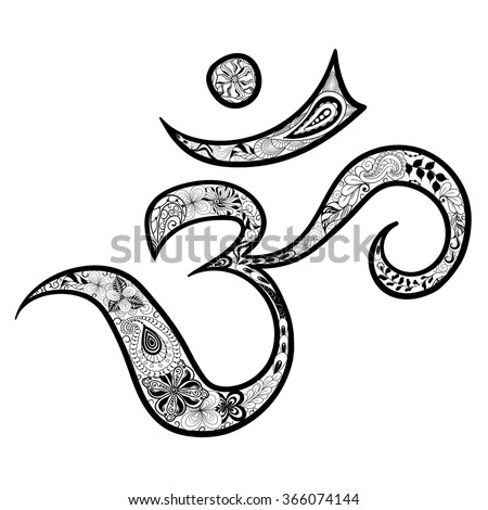 "Illustration ""Hieroglyph Om"" was created in doodling style in black and white colors.  Painted image is isolated on transparent background.   - stock vector"