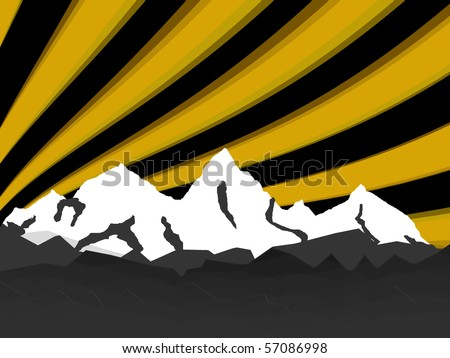illustration high mountain with rays night - stock vector