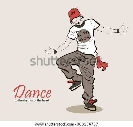 Illustration hip-hop dancer in red baseball cap