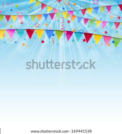 Illustration holiday background with birthday flags and confetti  - vector - stock vector