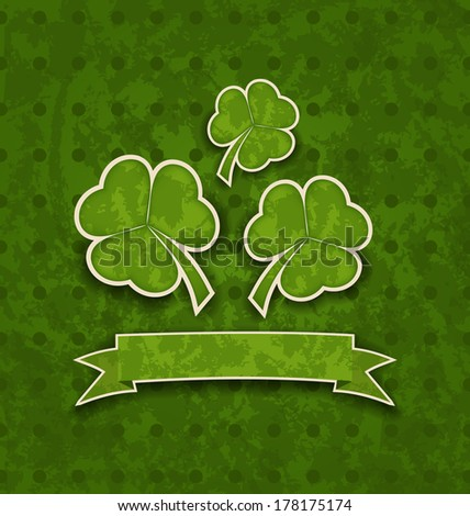 Illustration holiday background with clovers for St. Patrick's Day - vector