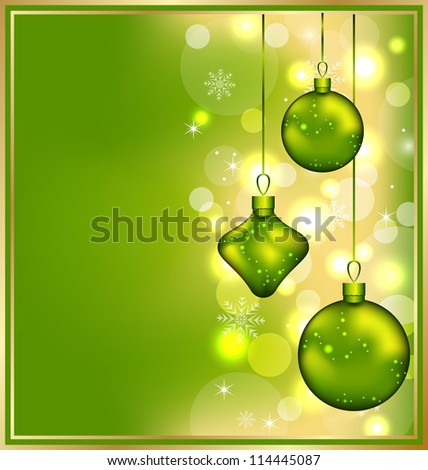 Illustration holiday glowing invitation with Christmas balls - vector