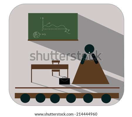 illustration, icon, banner - a professor giving a lecture to students on business, finance - stock vector