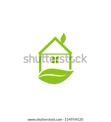 Illustration icon green house with leaf isolated on white background - vector - stock vector