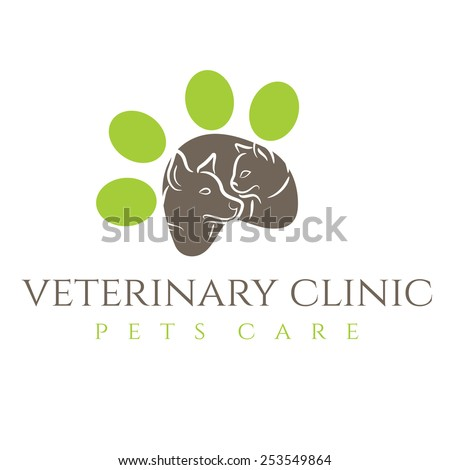Illustration icon veterinary clinic with cat and dog - stock vector