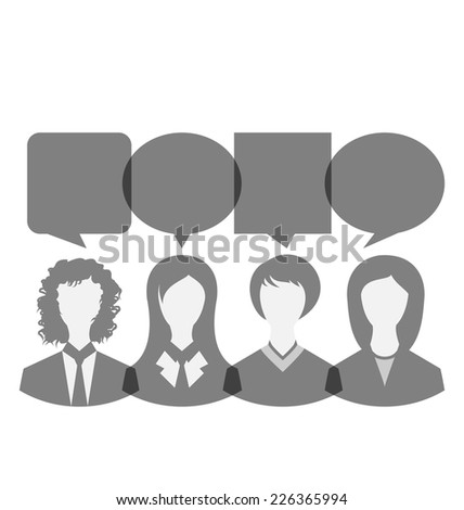 Illustration icons of business women with dialog speech bubbles, copy space for text - vector - stock vector