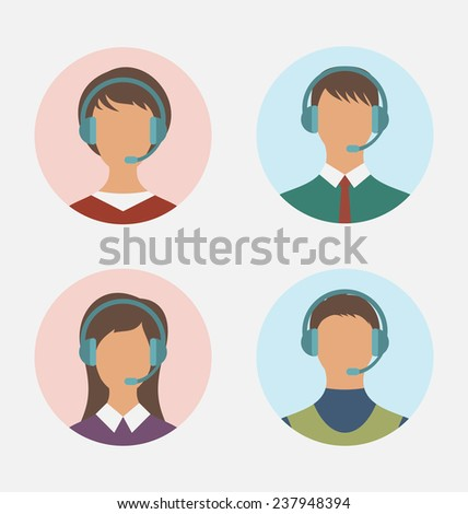 Illustration icons of call center operator  with  man and woman are featureless wearing headsets, in round web buttons - vector - stock vector