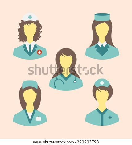 Illustration icons set of medical nurses in modern flat design style - vector