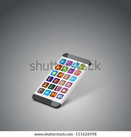 illustration icons with smart phone - stock vector