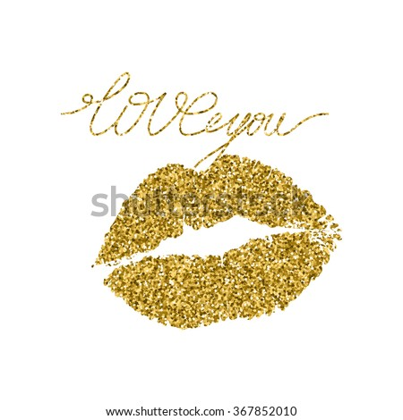 Illustration imprint of a kiss with gold glitter lipstick.  - stock vector