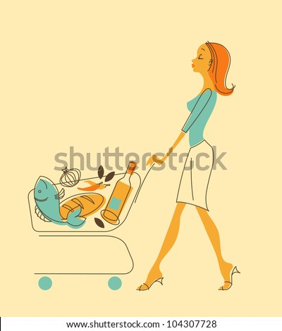 Illustration in retro-style - beautiful girl carries a cart of groceries - stock vector