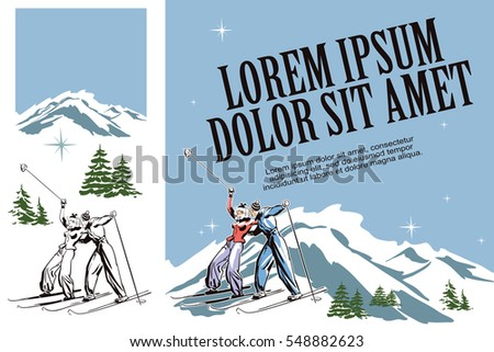 Illustration in retro style of advertising. Presentation template. Winter fun. Skiers on ski resort.