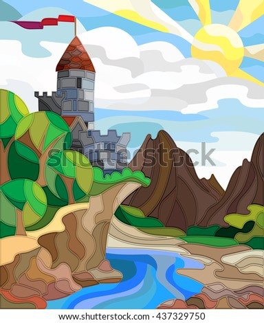 Illustration in stained glass style landscape with old castle on the background of sky, sun, river and mountains - stock vector