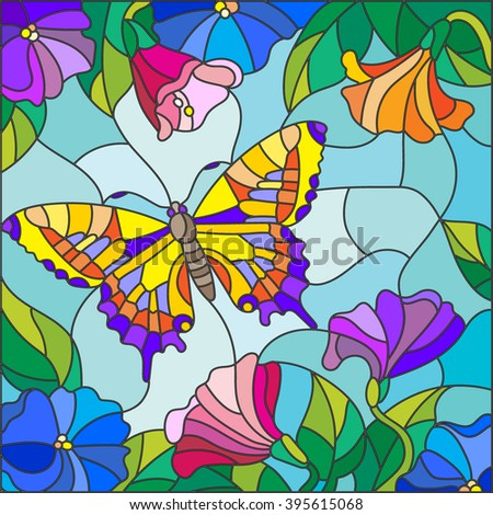 Illustration in stained glass style with bright butterfly against the sky, foliage and flowers - stock vector