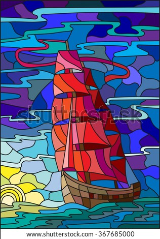 Illustration in stained glass style with the sailboat against the sky, the sea and the setting sun - stock vector