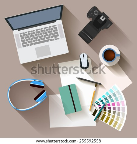 illustration in trendy flat style with objects with long shadow used in usual life of modern people isolated on beige background for use in design for card, poster, banner, placard or billboard  - stock vector