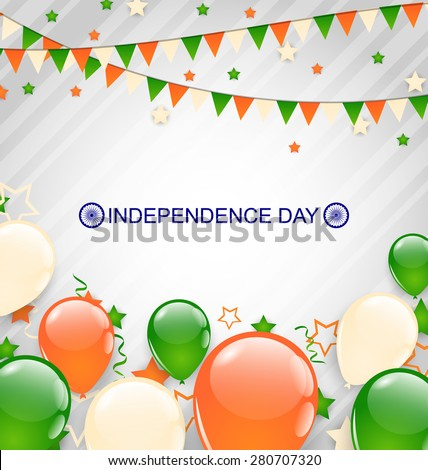 Illustration Indian Decoration in Traditional Tricolor of Flag for Independence Day, Buntings Flags Garlands and Balloons - Vector - stock vector