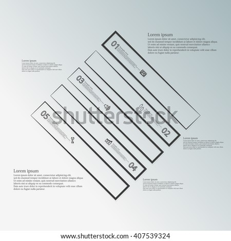 Illustration infographic template with motif of rhombus which is divided to five dark parts created by outlines on blue background. Each part contains number, text and symbol.