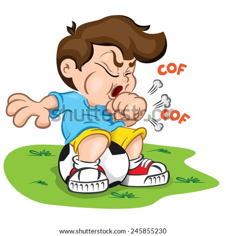 Illustration is a character child with cough and sitting on a ball. Ideal for health and institutional information. - stock vector