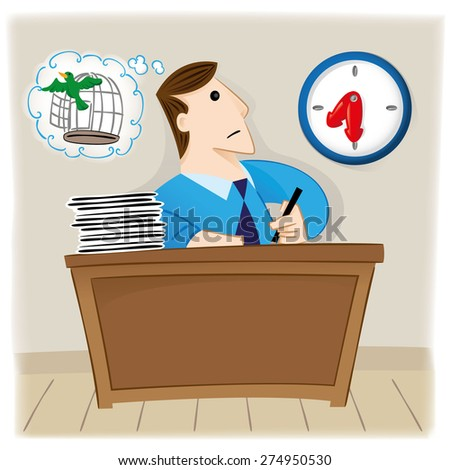 Illustration is a person, employee executive looking at the clock waiting for time to go, free as a bird. Ideal for educational and institutional materials - stock vector