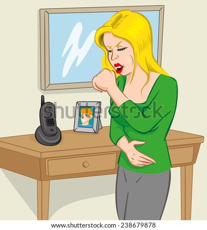 Illustration is a woman character with chronic and acute cough. - stock vector