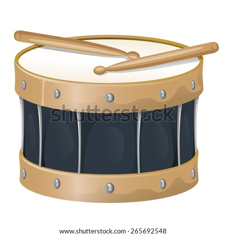 Illustration is an object musical instrument, drum and drumsticks, ideal for educational support materials and institutional - stock vector