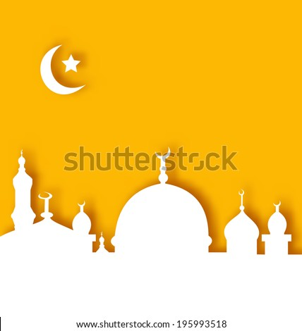 Illustration Islamic architecture background, Ramadan Kareem - vector - stock vector