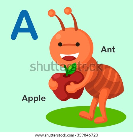Illustration Isolated Animal Alphabet Letter A-Ant,Apple - stock vector