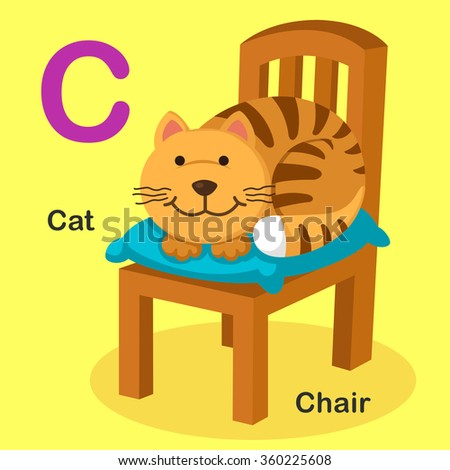 Illustration Isolated Animal Alphabet Letter C-Cat,Chair - stock vector