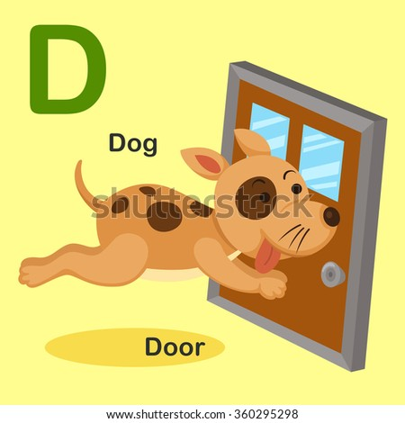 Illustration Isolated Animal Alphabet Letter D-Dog,Door - stock vector