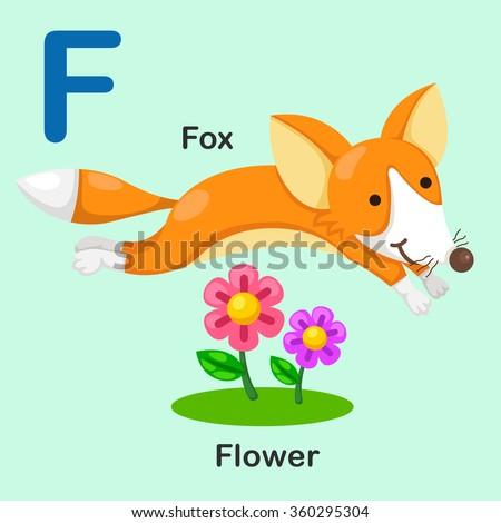 Illustration Isolated Animal Alphabet Letter F-Fox-Flower - stock vector