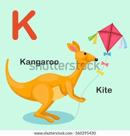Illustration Isolated Animal Alphabet Letter K-Kite,Kangaroo - stock vector