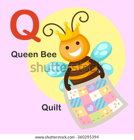 Illustration Isolated Animal Alphabet Letter Q-Quilt,Queen bee - stock vector