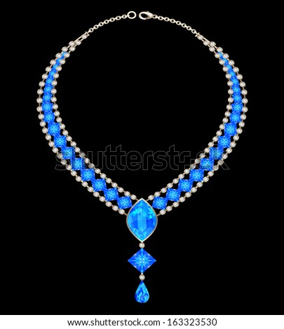 illustration jewelry female necklace with blue jewels - stock vector
