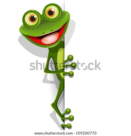 illustration jolly green frog with greater eye - stock vector