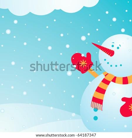 Illustration joyful snowman on which the snow falls in winter - stock vector
