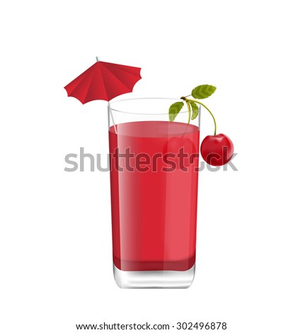 Illustration Juice in Glass with Two Cherries and Umbrella, Isolated on White Background, Photo Realistic Beverage - Vector - stock vector