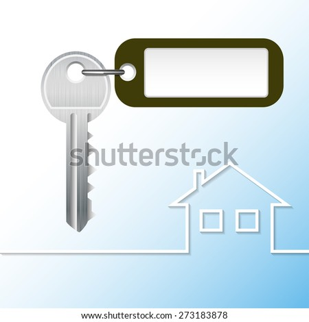 Illustration Key to the castle with tag and house. Vector. - stock vector