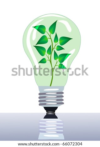 illustration lamp in which grows branch with sheet